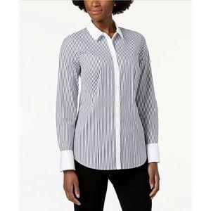 Charter Club Shirt Striped Blue 12 New
